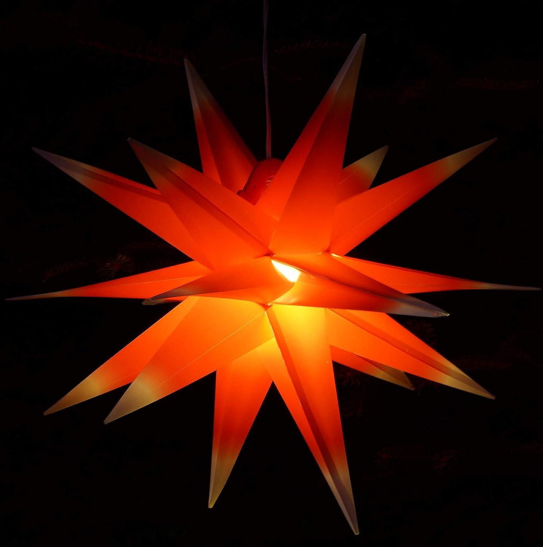 Guru-Shop 3D Batterie Außenstern Kaspar, Ø 55 cm, Weihnachtsstern, Faltstern mit 18 Spitzen Incl. LED Leuchtmittel - 4xAA Rot/gelb, Plastik, Weihnachtsstern, Adventsstern 230v Rot/Weiß