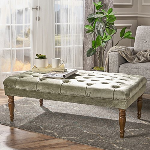 Christopher Knight Home 303228 Calendra Tufted Velvet Ottoman, Pistachio