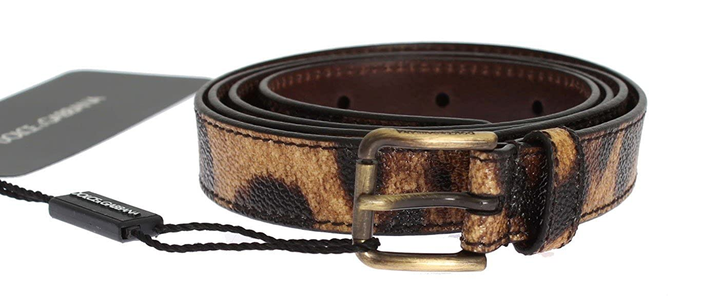 Dolce & Gabbana Brown Leopard Print Gold Buckle Belt SIG32654-95