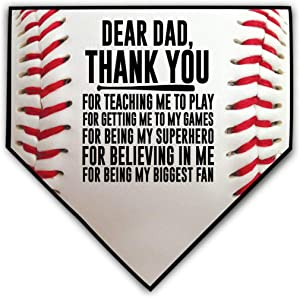 ChalkTalkSPORTS Baseball Stitches Home Plate Plaque | Your Message to Mom or Dad | Ready to Autograph