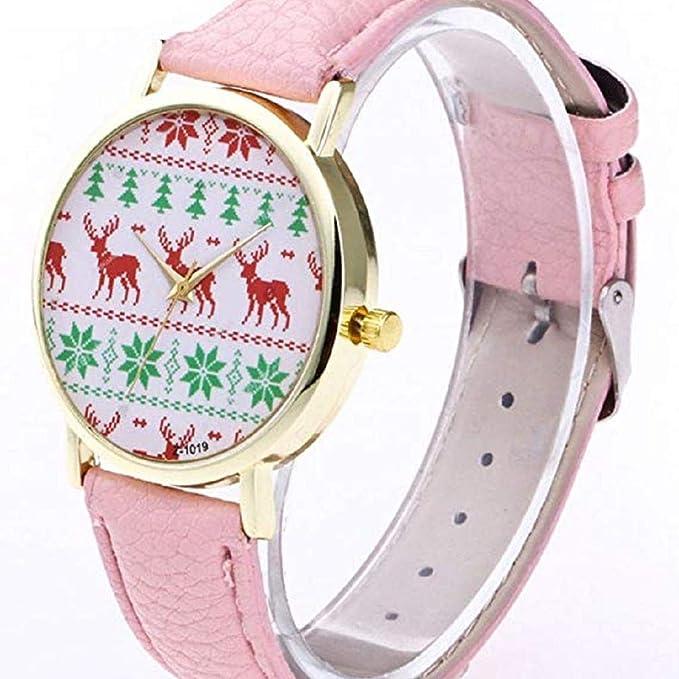 Scpink Mujeres Navidad Elk Relojes de Pulsera analógicos para Mujer Relojes de Cuero Relojes Femeninos Liquidación Venta (Azul): Amazon.es: Relojes