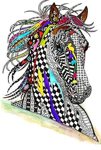 Whimsical and Colorful Horse Note Cards - 12-Pack with Envelopes (Inspired Bridle)