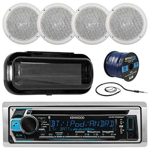 Kenwood KMRD372BT In-Dash Audio Bluetooth CD Player Receiver Bundle Combo W/Waterproof Shield Cover + 4 x 5 Marine Boat White Outdoor Speakers + Enrock Radio Antenna + 16-Gauge 50-Foot Speaker Wire