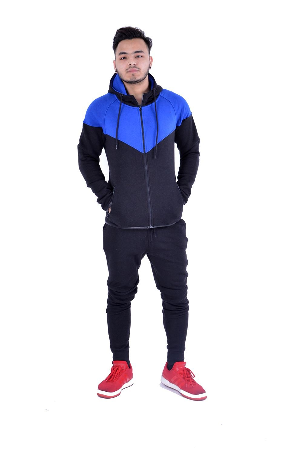 Mens Full Zip Up Contrast Cord Brushed Fleece Tracksuit Hoodie Jogging Joggers Gym Suit