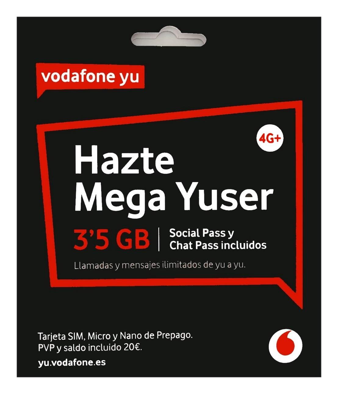 Vodafone 20 - Tarjeta SIM, 3.5 GB, 60 minutos y roaming
