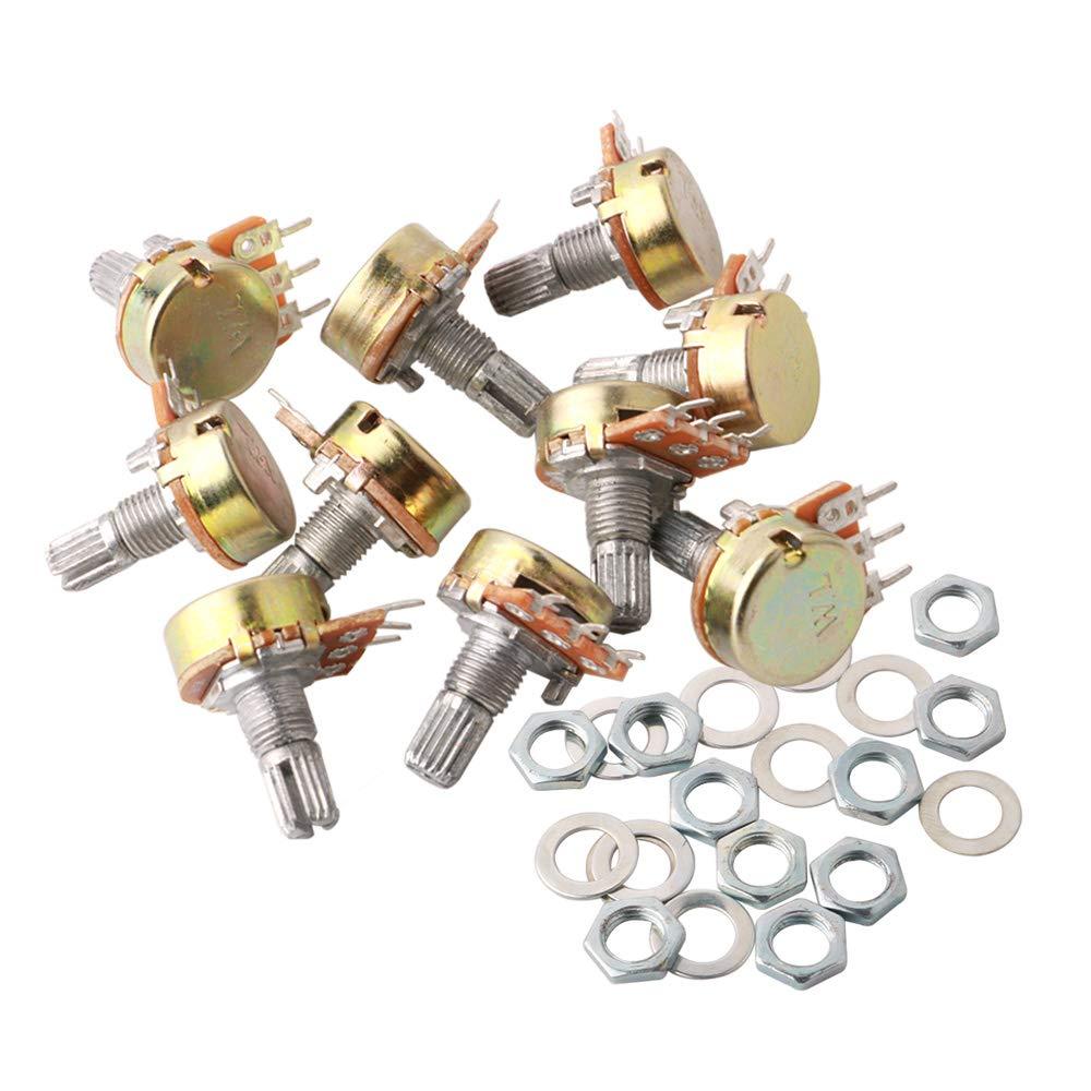 3 Terminales B-Tipo Est/éreo Audio Potenci/ómetro con Perilla B1K~B1M Ohm FULARR/® 10Pcs Premium Lineal C/ónico Rotativo Potenci/ómetro Kit para Arduino