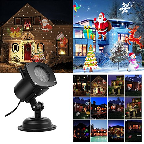 Holiday Projector Lights,Bagvhandbagro Halloween Christmas Projector Lights with 12 Switchable Pattern Lens Led Landscape Spotlight,Waterproof Lights for Christmas Halloween Holiday Home Decoration