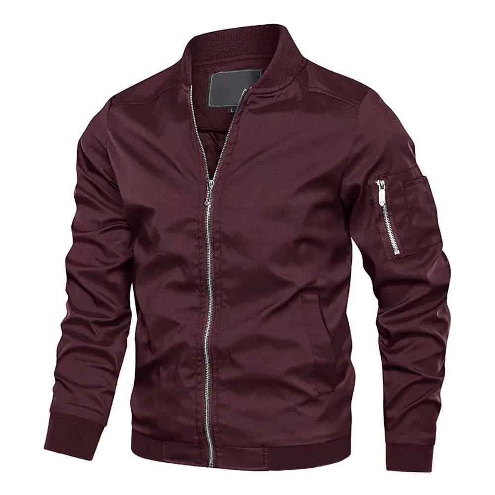 MAGCOMSEN Millitary Jacket for Men Air Force Windbreaker Jackets Flight Softshell Bomber Jacket Windbeaker Jacket Outdoor Jacket Wine Red by MAGCOMSEN