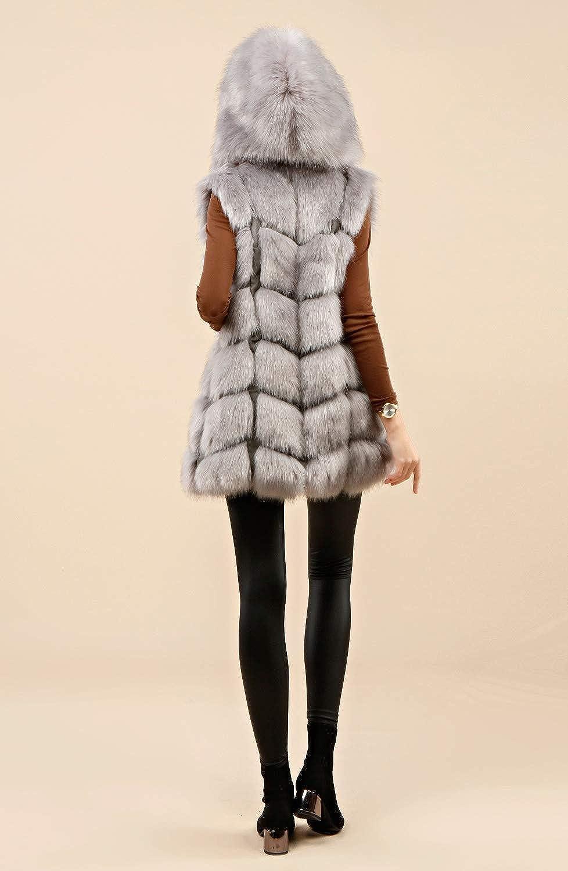 FOLOBE WomensSoft Faux Fur Vest Adult Waistcoat Jacket