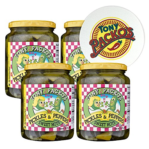 (Tony Packo's (4-Pack) Sweet Hot Pickles and Peppers, 24 Ounce - 4 Jars with FREE Jar Opener )