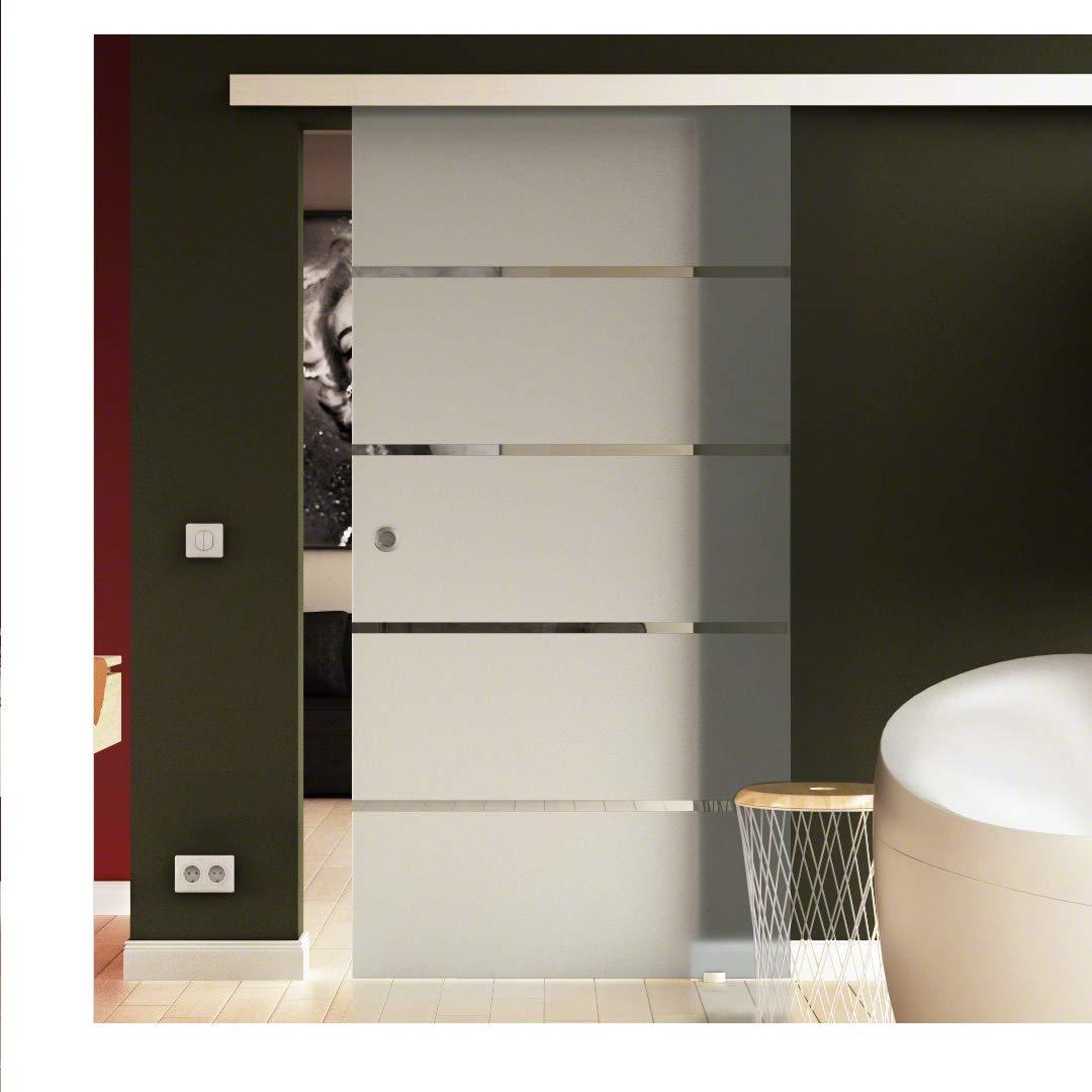 Levidor/® EasySlide-System komplett Laufschiene und Muschelgriffen f/ür Innenbereich SoftClose Schiebet/ür aus Glas 775x2050 mm Milchglas Satiniert gestreift S