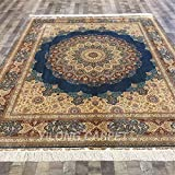 Yilong 8'x10' Large Persian Silk Rugs Classic Oriental Floral Medallion Blue Handmade Home Area Rugs YN060