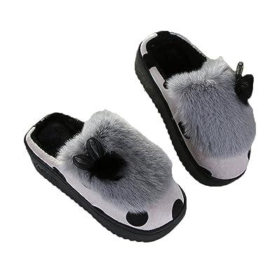 GWELL Damen Punkte Hausschuhe Baumwolle Slippers Pantoffeln Plüsch Winterschuhe Warm Gefüttert Schuhe für Winter Herbst grau EU 35-36 (Tag 37-38) uqwj8PaU