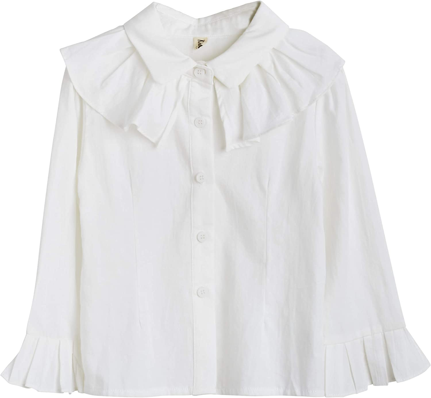 ContiKids Girl's Big Bell Sleeve Ruffle Top Button Down Blouse