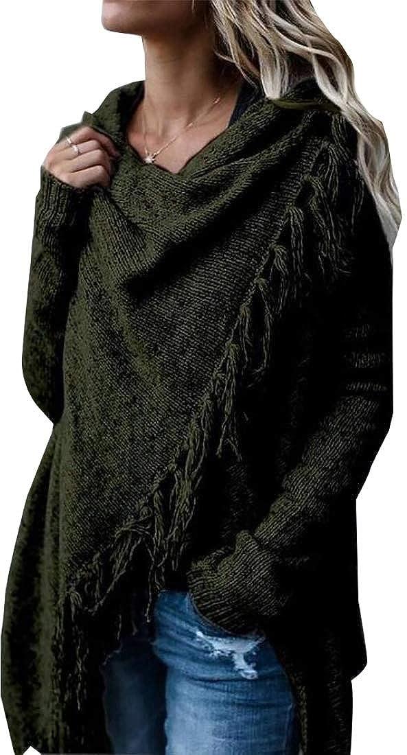 M/&S/&W Womens Long Sleeve Knitted Lightweight Speckled Fringe Tasseled Slash Cardigan Pullover Top