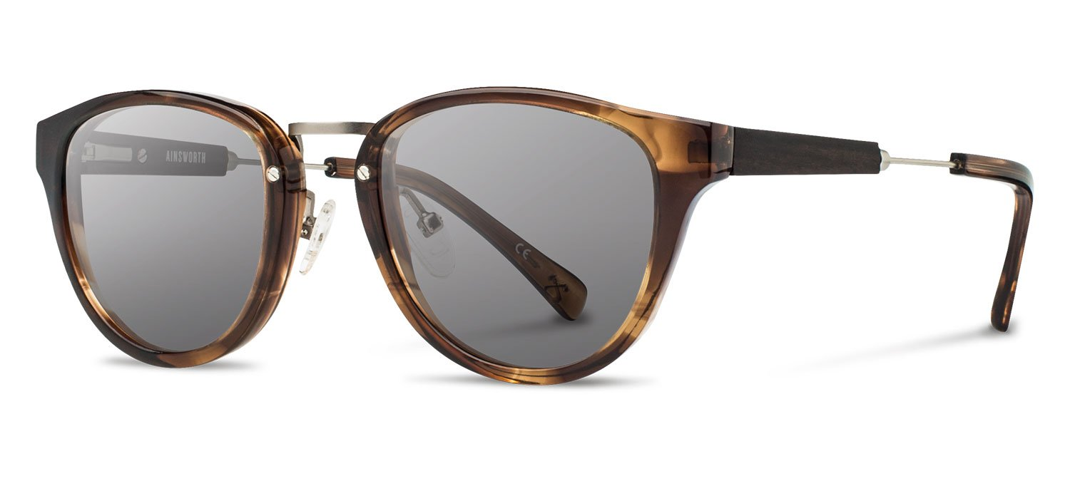 Shwood - Ainsworth Acetate, Sustainability Meets Style, Bourbon/Matte Silver, Grey Polarized Lenses