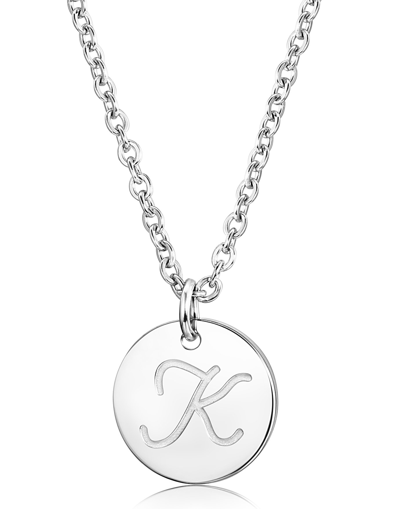 c3b09e1f8 FUNRUN JEWELRY Stainless Steel Initial Letters Pendant Necklace for Women  Men (Letter K)