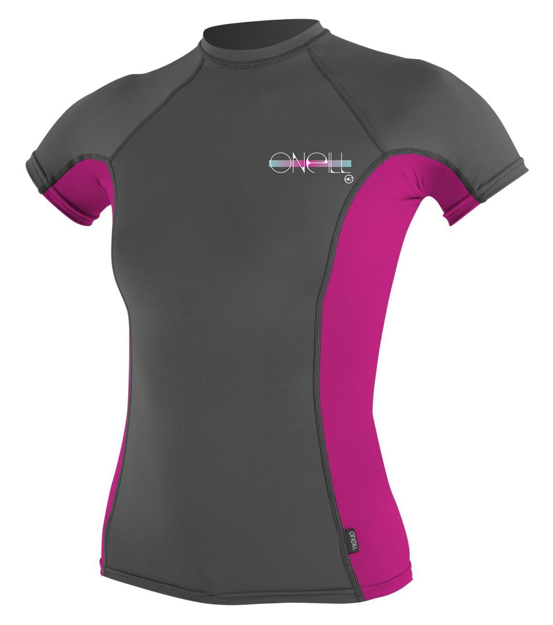 O'Neill Women's Premium Skins UPF 50+ Short Sleeve Rash Guard, Graphite/Berry/Graphite, X-Small by O'Neill Wetsuits