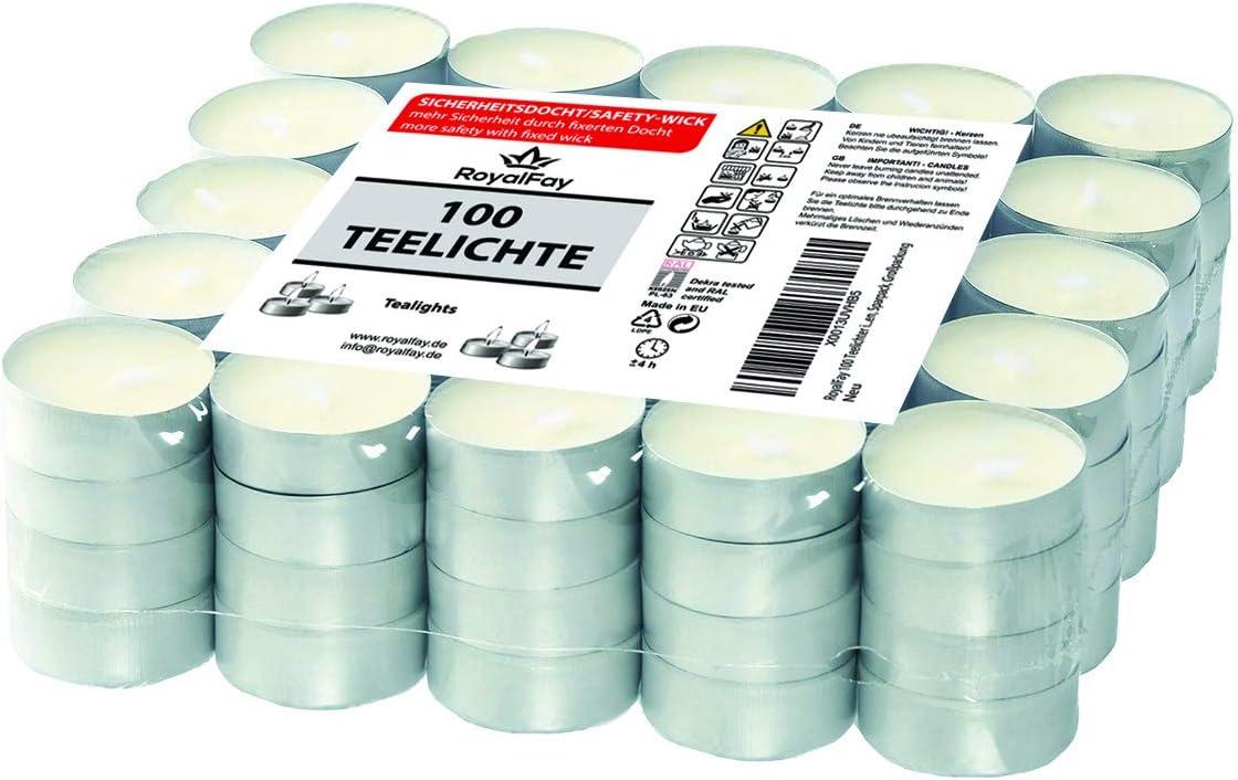 RoyalFay/® Lot de 200 Bougies Chauffe-Plat en Papier Plat Blanc 4 Heures de Combustion en Aluminium argent/é sans Parfum