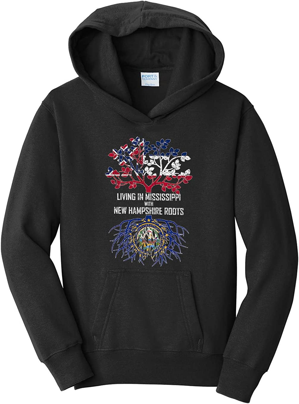 Tenacitee Girls Living in Mississippi with New Hampshire Roots Hooded Sweatshirt