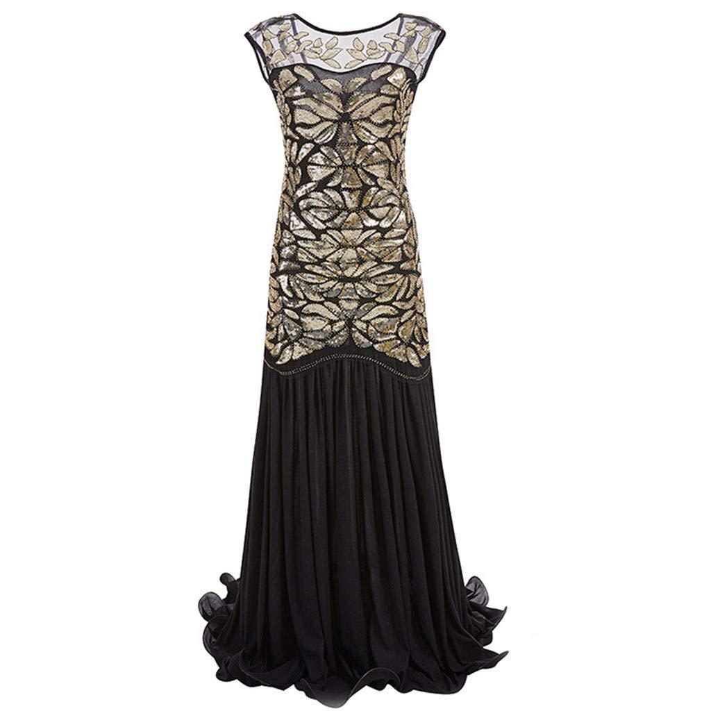 Women's Elegant Evening Dress Sequined Inspired Sequins Beads Long Tassel See-Through Vintage Dress (L, Gold)