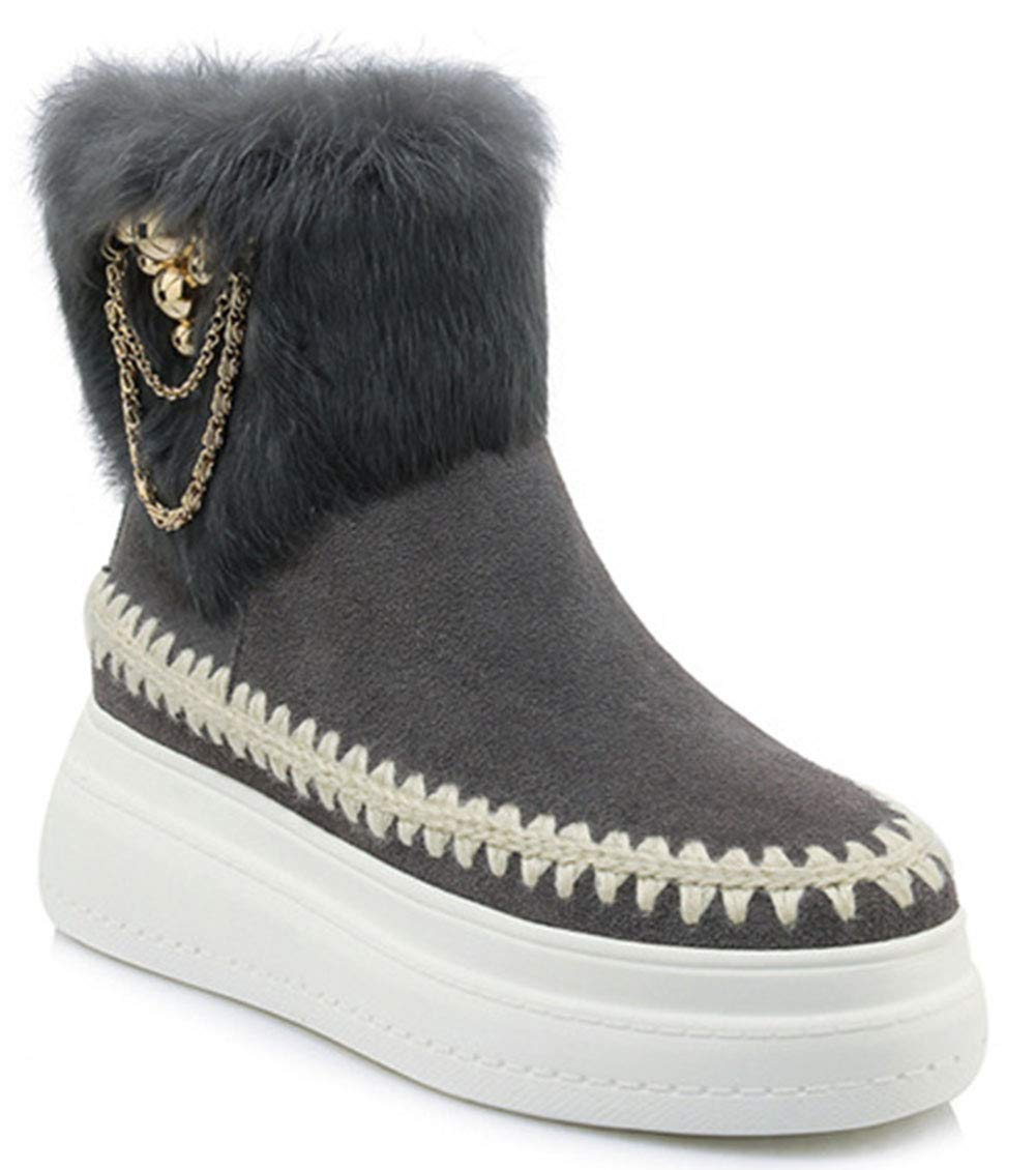 HRN Frauen Winter Schneeschuhe Leder matt runde Kopf Keile Stiefel Wasserdichte plattform Strass dekorative flusen lässige Mode Stiefel