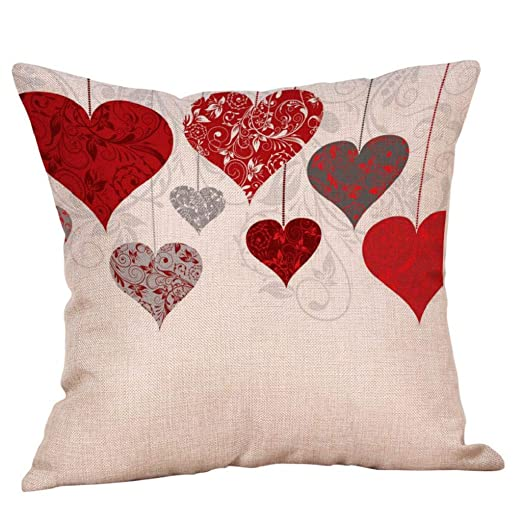 Fundas de Cojines,SHOBDW Regalo de San Valentin Funda de Almohada Sweet Love Boda romántica Cojín Cuadrado Sofá Cama Decoración del hogar(45cmx45cm No ...
