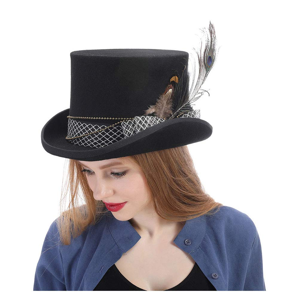 LL Women's Top Hat Fedora Hat Steampunk Hat Steampunk Gear Fedoras Hat (Color : Black, Size : 57cm)