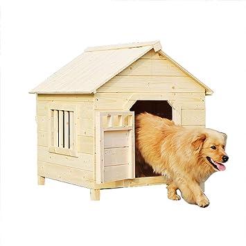 Casa de mascotas de madera maciza Casa para perros Casa de perro para interiores y exteriores ...