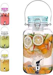 Emica Home 1 Gallon Cold Drink Glass Beverage Dispenser with Ice Infuser, Clear Bail & Trigger with Locking Clamp Drink Dispenser with Easy Flow Spigot for Outdoor, Parties and Daily Use