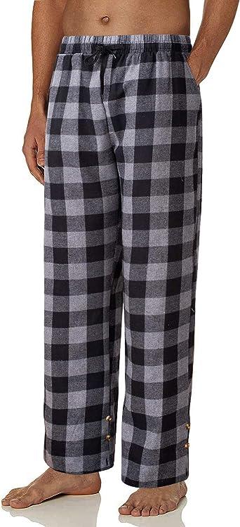 J.VER Pantalones Pijama Franela para Hombre 100% Algodón Dormir Dos Bolsillos
