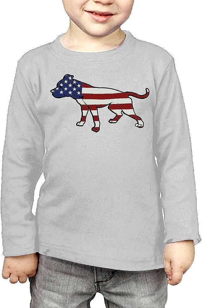 CERTONGCXTS Baby Girls Kids Pit Bull American Flag ComfortSoft Long Sleeve Shirt