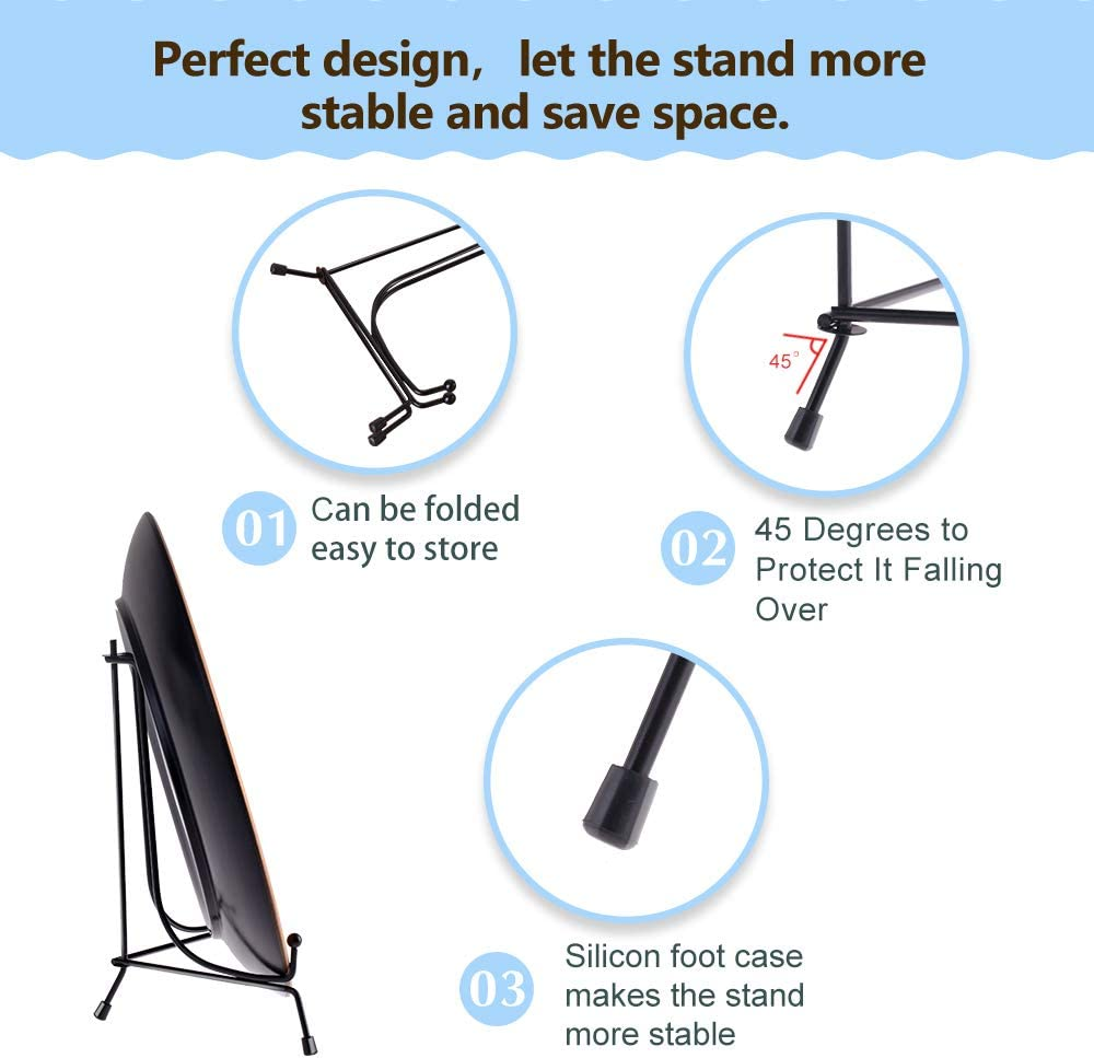 and Artworks HCHLQLZ 4inch Decorative Plates Upgraded Anti-Slip Iron Plate Display Stand Black Easel Display Stand Photo Holder Stand,Displays Picture Frames 2pack