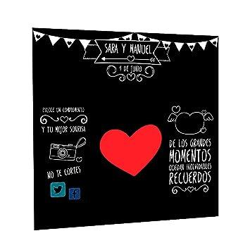 Photocall Pizarra Personalizado | Decoración de boda | Material Lona con Velcro para fácil colocación (230x230cm)