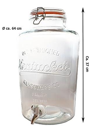 Detalles de zumo dispensador de cristal con grifo (8, 5 L dispensador de agua dispensador de bebidas rústico, 1 x: Amazon.es