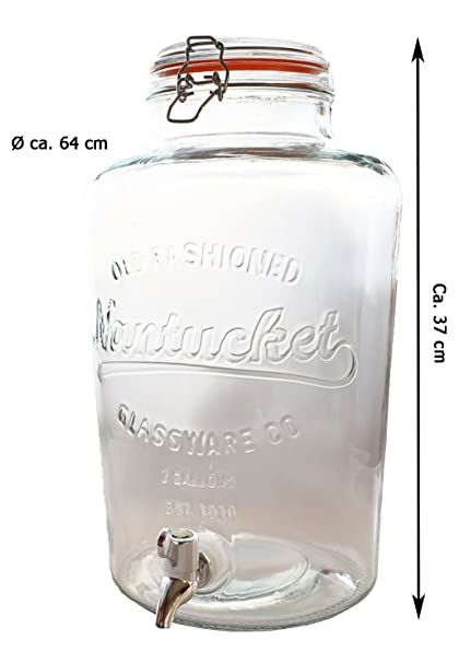 Detalles de zumo dispensador de cristal con grifo (8,5 L dispensador de agua