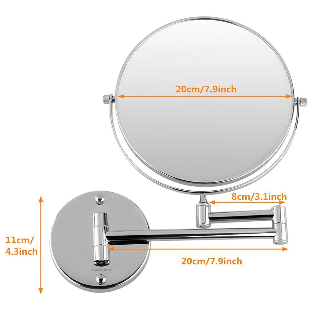 Cosprof Bathroom Mirror 10X/1X Magnification Double-sided 8 Inch Wall Mounted Vanity Magnifying Mirror Swivel, Extendable and Chrome Finished by Cosprof (Image #3)