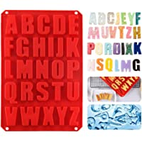 Alphabet Letter Tray, Hamkaw Silicone Cupcake Pan BPA Free Ice Cube Trays with Heat Resistant Chocolate Candy Molds for Cooking Baking