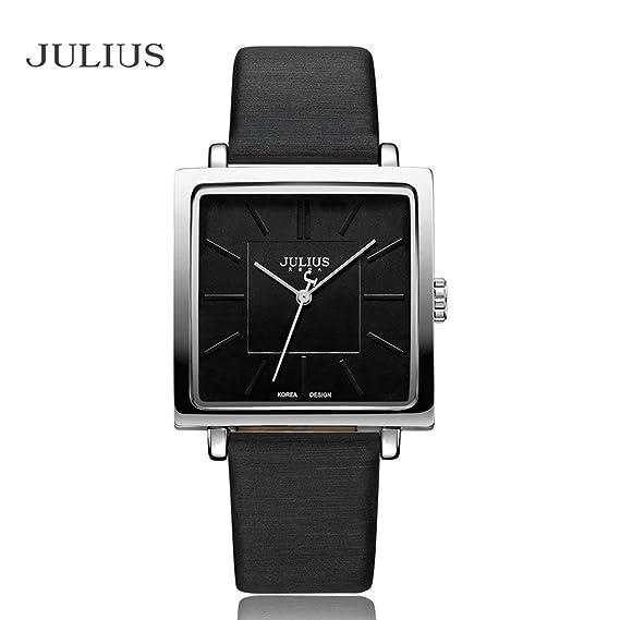 Cuarzo Cuadrado De Ja Cuero Reloj 354 Correa Julius Moda Dial mNOn8yv0w
