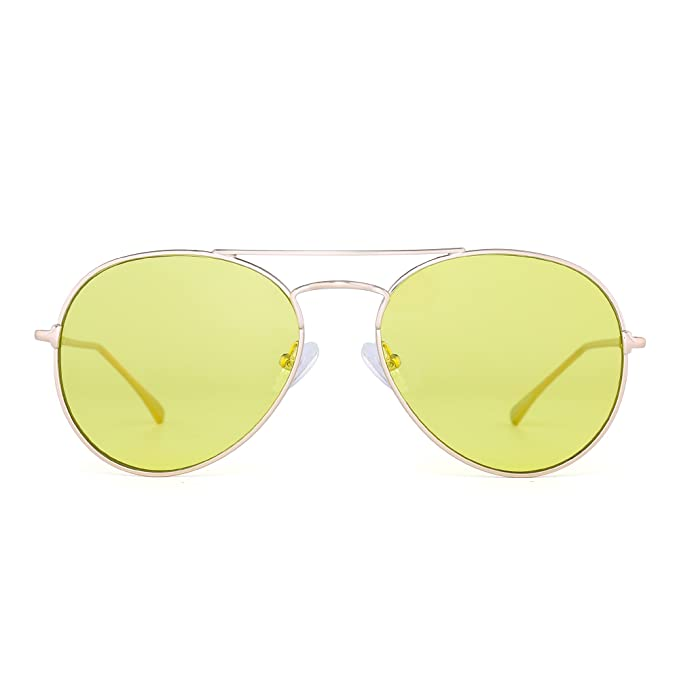 a96f256b25 JIM HALO Gafas de Sol Aviador Claro Clásico Lentes Planas Teñido Metal  Anteojos Hombre Mujer(