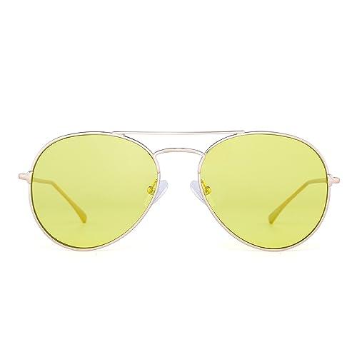 c0068138fa Clear Aviator Sunglasses Classic Flat Tinted Lens Metal Eyeglasses Men  Women (Gold Transparent Yellow