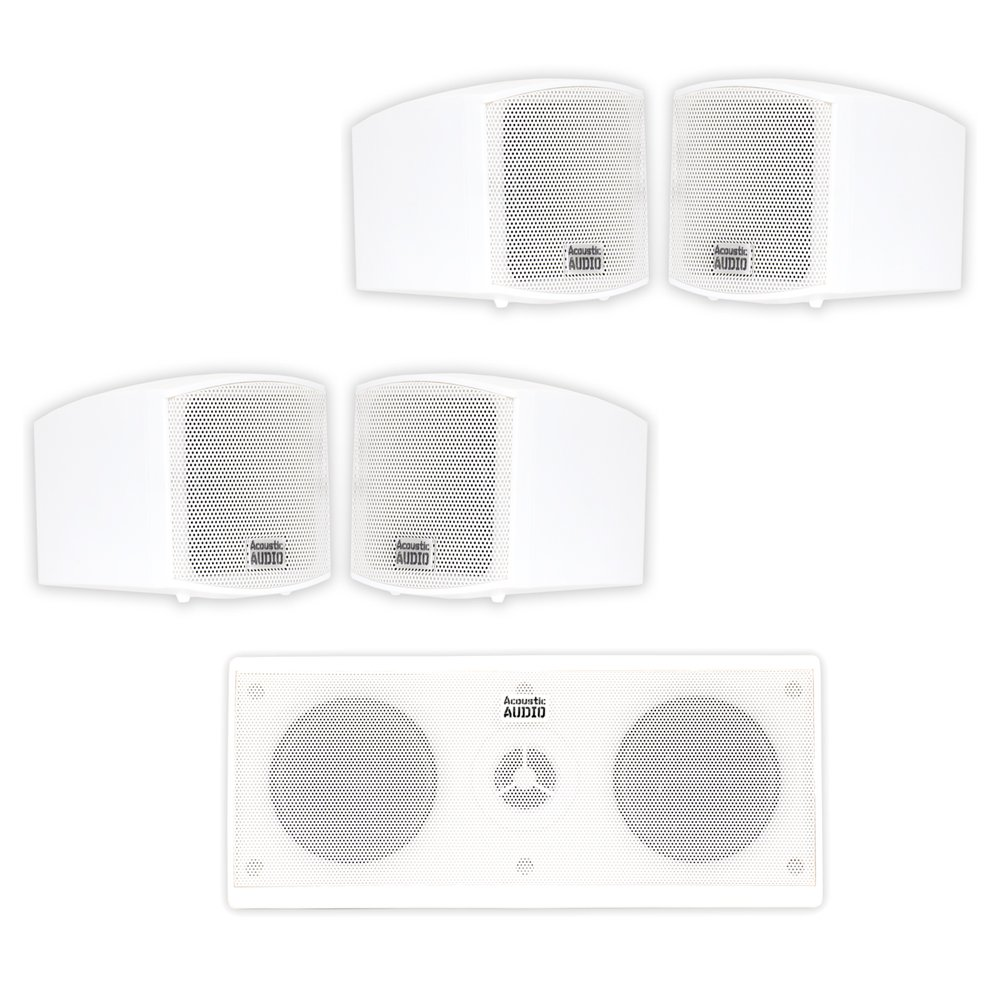 Acoustic Audio AA321W and AA35CW Indoor Speakers Home Theater 5 Speaker Set