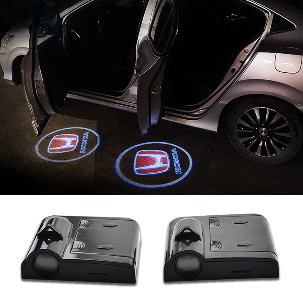MASHA 2pcs LED Car Door Welcome Light Projector Logo Light Ghost Shadow Light Wireless Laser Lamp For Honda Civic CRV Jazz Fit Accord Insight Pilot Passport HRV Odyssey