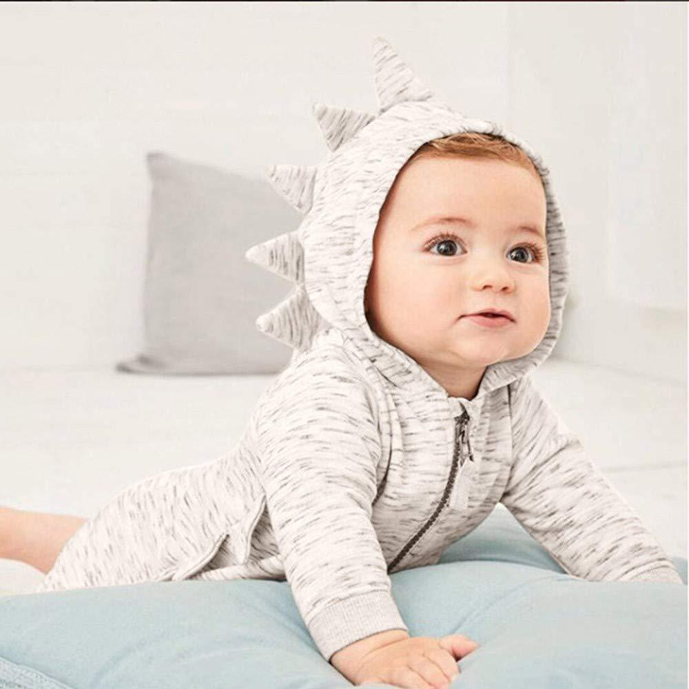 Baby Boys Girls Rompers Toddler Long Sleeve Cartoon Dinosaur Hooded Romper Jumpsuit GoodLock Clearance!