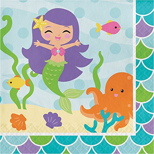 Luncheon Napkins Table Cover Mermaid Friends Birthday Party Supplies Pack for 16 Guests| Straws and Cups 16 Dinner Plates Celebrate Your Little Mermaid/'s Birthday With This Mermaid Party Pack