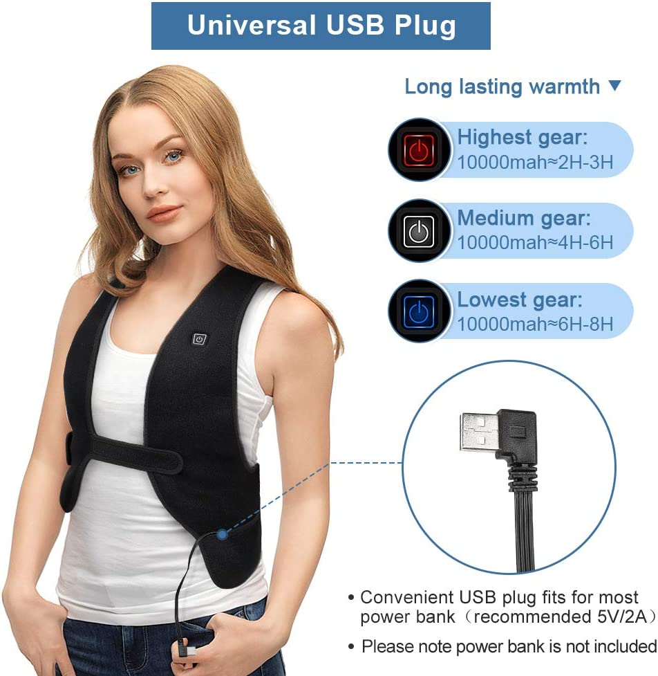 Skiing Yosoo Health Gear Heated Vest Hiking in the Cold Winter Electric Heating Jacket with USB Plug Heating Body Warmer Gilet for Outdoor Fishing Camping