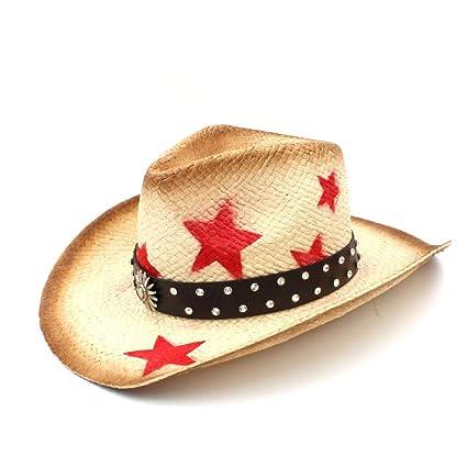 Sun hats Hat- Mujeres Hombres Paja Sombreros de Vaquero Occidentales con  Banda de Cuero Punk 0e9aa964f72