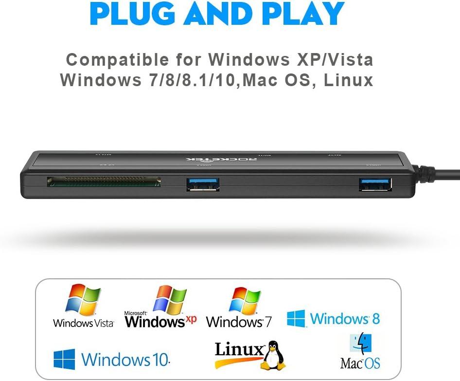 Rocketek USB 3.0 Tragbare Docking Station mit CF-Karte /& SD-Karte /& Micro-SD-Kartenleser /& 2 Ports USB 3.0 HUB /& SATA Adapter