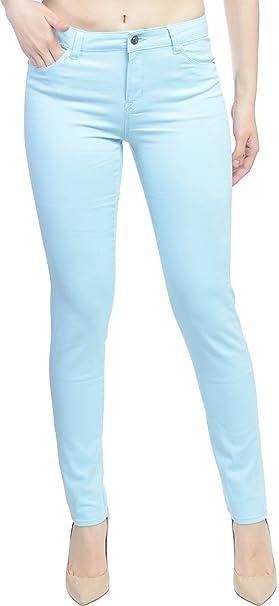 c01ab8bafbf Hey Collection Womens Brushed Stretch Twill Mid Rise Skinny Jeans,  Aquamarine, Small