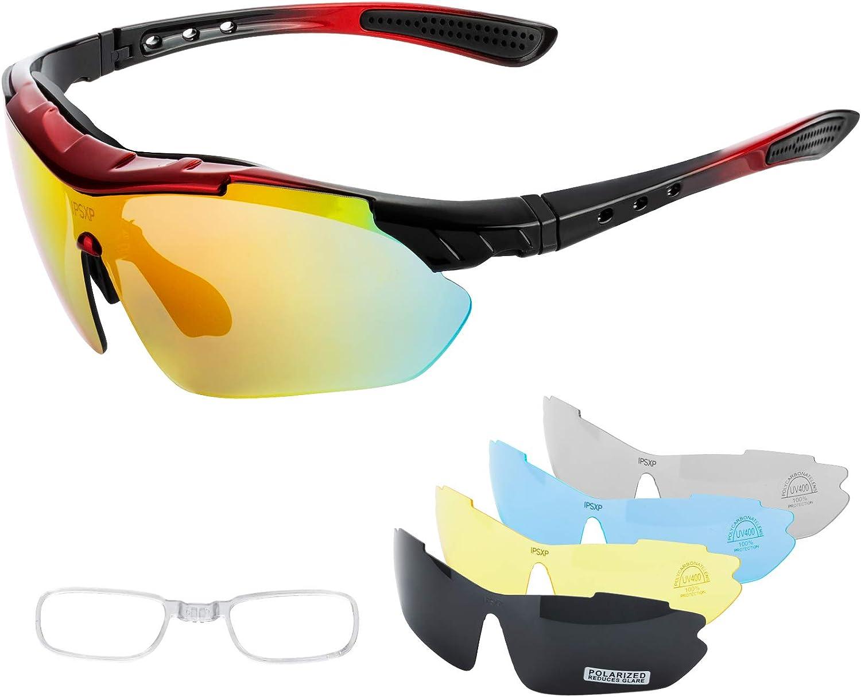 IPSXP Lunettes de Soleil de Sport polarisées avec 5 lentilles interchangeables, Lunettes de Cyclisme pour Hommes et Femmes, Baseball Course Escalade pêche Conduite Golf (Rouge et Noir)